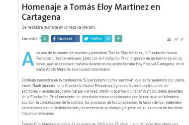 Homenaje a Tomás Eloy Martínez en Cartagena